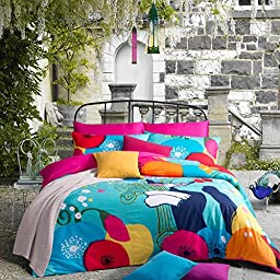 MeMoreCool Home Textile Cute Cartoon Design Coloful Pattern Kids Bedding Set Creative Cat Boys and Girls Duvet Cover Students Bed Sheets Full Size 100% Cotton 4Pcs