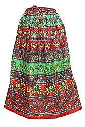 Indiatrendzs Fashion Skirts Women Animal Print Cotton Red Green Summer Long Skirt