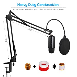 InnoGear Heavy Duty Microphone Stand with Mic Microphone Windscreen and Dual Layered Mic Pop Filter Suspension Boom Scissor Arm Stands for Blue Yeti,Blue Yeti Nano,Snowball, Blue Spark & Other Microp (Color: Black)