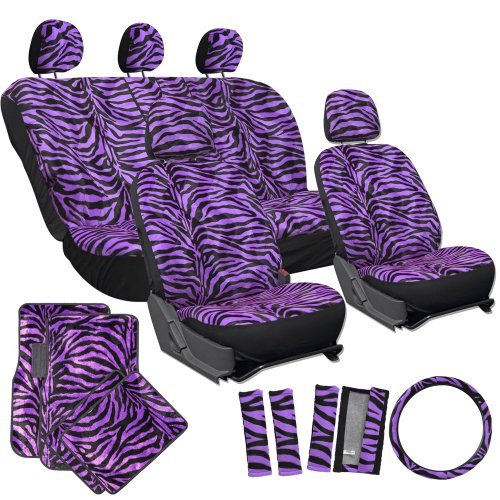 OxGord 21pc Set of Zebra Print Car Seat Covers w/Deluxe Velour Animal Carpet Floor Mats, Steering Wheel Cover & Shoulder Pads - Airbag Compatible - Front Low Back Buckets - 50/50 or 60/40 Rear Split Bench - Universal Fit for Cars, Truck, SUV, or Van, Purple (Animal Print Seat Covers For Suv compare prices)