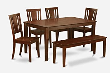 East West Furniture CADU6C-MAH-W 6-Piece Kitchen Table with Bench