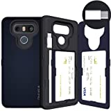 LG G6 Case, LG G6 Card Case, SKINU [USB Type C] [Metal Slate] [Shockproof] [Dual Layer] [Card Slot] [Drop Protection] [Wallet] with Mirror and Adapter for LG G6 - Metal Slate (Color: Metal Slate)