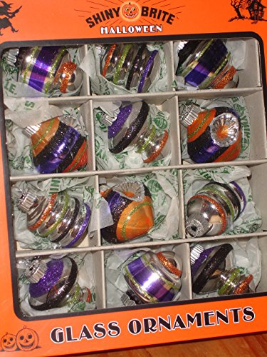 Shiny Brite Halloween Ornaments Set of 12 Glitter in Bell, Concave, Beehive