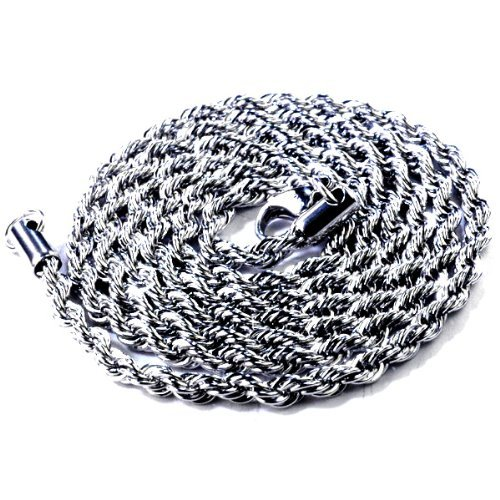 DazzlingRock Men's Rope Chain Stainless Steel Hip Hop Heavy 30 Inches Long 4mm Wide Necklace