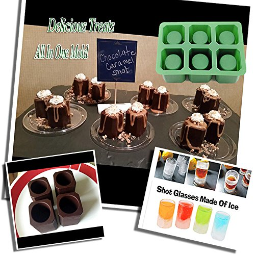 Single 1 Set of 6 Cups Square Shape Ice Shot Glass Maker, Chocolate Mold, Jelly Ice Cube Tray. FDA Food Grade Silicone Ice Mug Glass Color: Green by DidaDi (Pocket Coffee Maker compare prices)