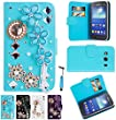 Magic Global Gadgets - TURQUOISE/L.BLUE 3D Luxury Diamond Ruby Jewels Leather Wallet Card Slot Book Case Cover Pouch For Samsung Galaxy Ace 4 (GALAXY ACE 4) With Screen Guard, Cleaning Cloth & Stylus Pen