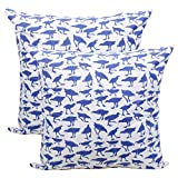 Store Indya Set of 2 Cushion Covers Hand Woven in Pure Cotton with Bird Prints Throw Pillow Case Home Sofa Decorative