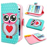 ivencase Owl Painting Art Design PU leather Flip Cover Case for Samsung Galaxy S3 Mini i8190 + One