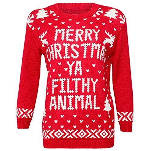 CostMad-Ladies-Womens-Merry-Christmas-Ya-Filthy-Animal-Xmas-Novelty-Print-Jumper-Knitted-Retro-Vintage-Crew-Neck-Sweater-Pullover-Classic-Winter-Top