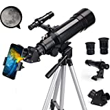 EastPole 70mm Telescope for Beginners and Kids, Refracter Travel Scope for Viewing Moon Stargazing and Outdoor Activities, FMC Lens, BAK4 Prism, Metal Tripod and 2019 New Telescope Smartphone Mount (Color: MidnightBlack)