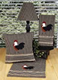 Rise and Shine Rooster, Black and Oat Checkered Decorative Accent Pillow, Table Runner and Towels Set With Burlap Trim