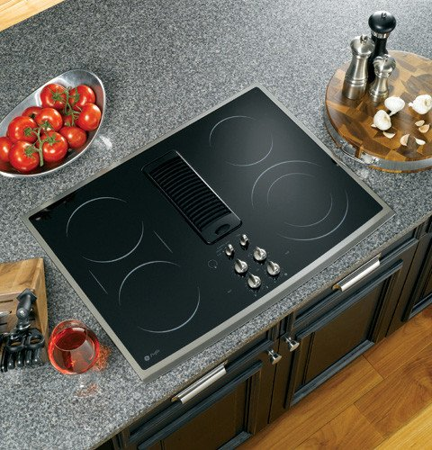 GE Profile : PP989SNSS 30 Smoothtop Electric Downdraft Cooktop, 400 CFM, 3-Speed Fan &#8211; Stainless