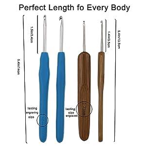 Looen New Set of 53 Ergonomic Crochet Hooks Set w Case, 9 pcs Rubbery Handles Hook 2.0MM-6MM and 8 pcs Bamboo Hook 1.0MM-2.75MM Comfort Grip for Arthritic Hands-Accessoris Included (Green) (Color: green, Tamaño: L)