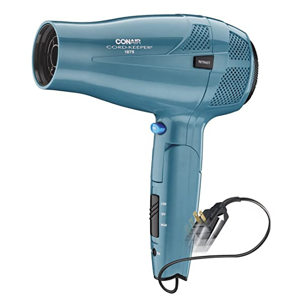 Conair 1875 Watt Ionic Conditioning Cord Keeper Styler/Hair Dryer with Folding Handle; Blue (Color: Blue, Tamaño: 9.60in. x 6.30in. x 4.10in.)