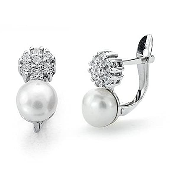 18k white gold pearl earrings 6mm. zircons communion [9050P]