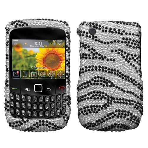 Imagen de Escudo de diamantes de imitación caso protector para BlackBerry Curve 8520 8530, rayas de la cebra completa Diamante