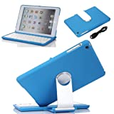 iPad Min 3 Keyboard Case,TechCode Wireless Bluetooth 360 Degrees Rotating Ultra Slim Light Weight Multi Viewing Angles Stand Keyboard Case for Apple iPad mini1 iPad mini 2 iPad mini 3 7.9 inch(Blue)