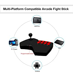 DOYO Arcade Fight Stick, S501 Wired Game Arcade Joystick Multi-Function Joystick for Switch/PC Xinput/PC DirectInput/PS3/Android (Color: Black)