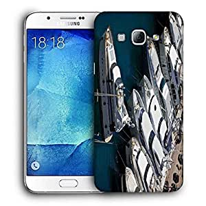 Snoogg White Yards Printed Protective Phone Back Case Cover For Samsung Galaxy A8