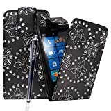 CONTINENTAL27 Nokia Lumia 800 Various New Premium Quality Printed PU Leather Stylish Card Holder Magnetic Closure Secure Horizontal / Vertical Top Side Open Wallet Book Flip Case Cover + FREE STYLUS PEN AND SCREEN PROTECTOR (Butterfly Black Diamond Flip)