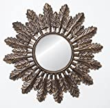 Copper Forest Leaf Wooden Wall Jharoka Mirror