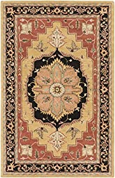 Red Rug Classic Design 5-Foot x 8-Foot Hand-Made Oushak Medallion Carpet