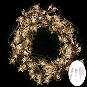 Warm White Christmas Star LED String Lights Connectable Plug-in 38 Feet Fairy String Lights for Indoor & Outdoor Garden, Wedding Decoration