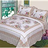 3 Pc Quilt Bedspread Blanket Cover Light Green, Purple and Beige Floral Design Queen or King Size (Queen) (King)