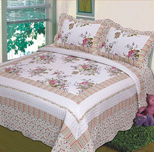 3 Pc Quilt Bedspread Blanket Cover Light Green Purple and Beige