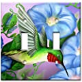 Art Plates - Hummingbird & Flowers Switch Plate - Double Toggle