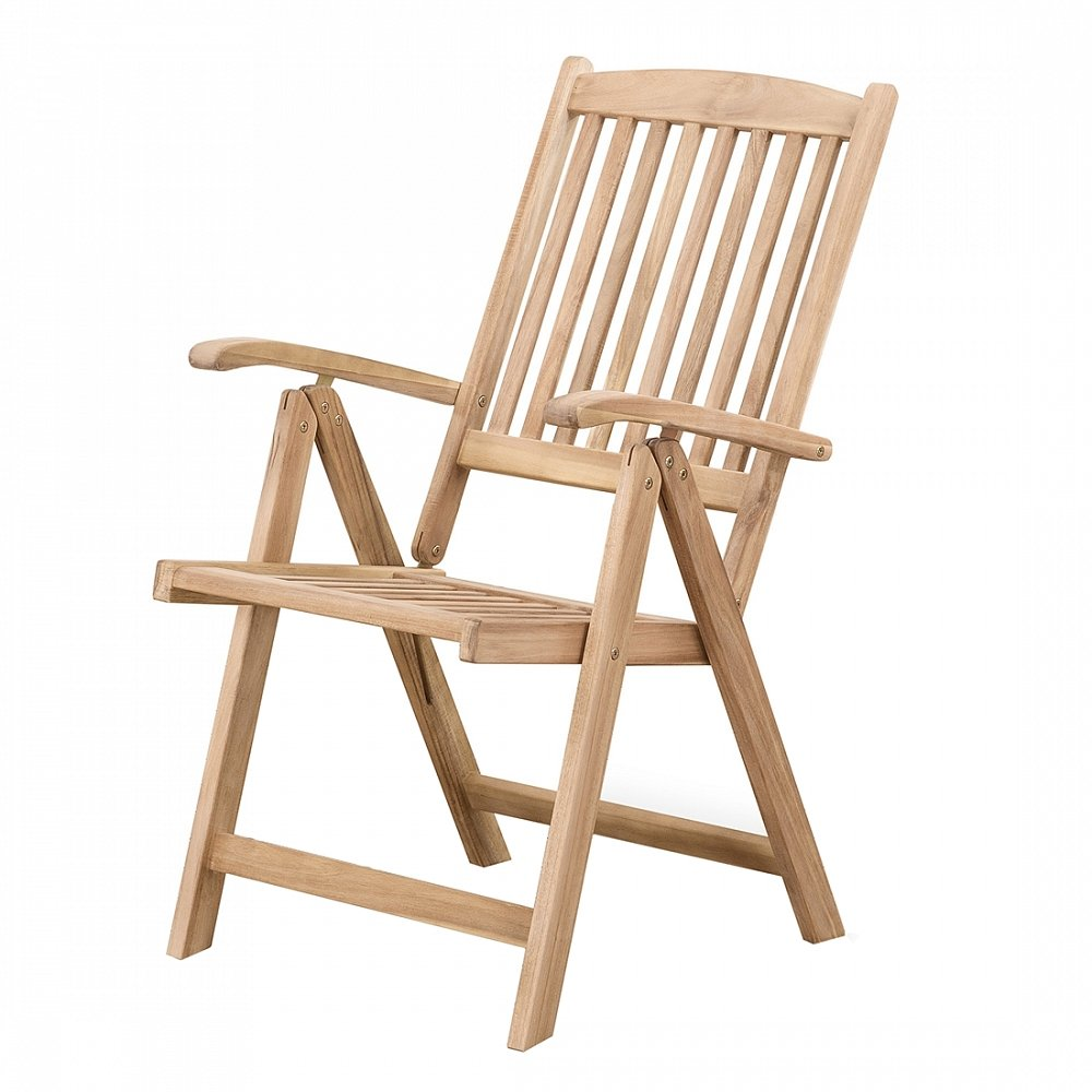 Holz Gartenstuhl - Stuhl mit verstellbarer Rückenlehne - Gartenmöbel - Holzstuhl - RIVIERA