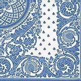 Entertaining with Caspari 12270DG Jacquard Paper Linen Napkin Dinner, Blue/White, 12-Pack