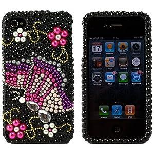 Coque de protection couverte de strass de diamants emboîtable pour Apple iPhone 4 16GB 32GB et téléphone portable d'Apple (Papillon)