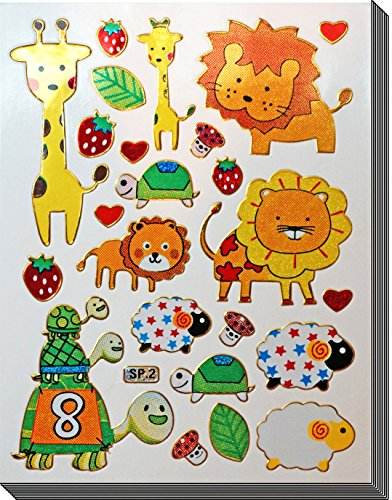 Jazzstick 140 Glitter Lion Turtle Sheep Giraffe & Animal Decorative Sticker 10 sheets (VST09A03)