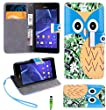 Magic Global Gadgets - Blue Owl Cartoon Owl Pu Leather Wallet Book Stand Flip Case Cover Pouch For Sony Xperia M2/Xperia M2 Dual (D2303/D2305/D2306/D2302 With Built in Card & Money Slots + Screen Guard + Wrist Strap & Stylus Pen