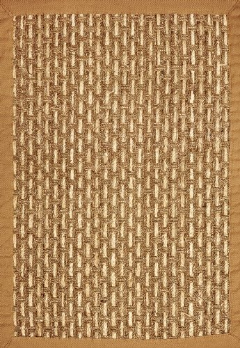 Anji Mountain Bamboo Chairmat & Rug Co. 8-Foot by 10-Foot Deluxe Seagrass Rug with Cornhusk Fiber Accents, Basketweave with Khaki Cotton Border
