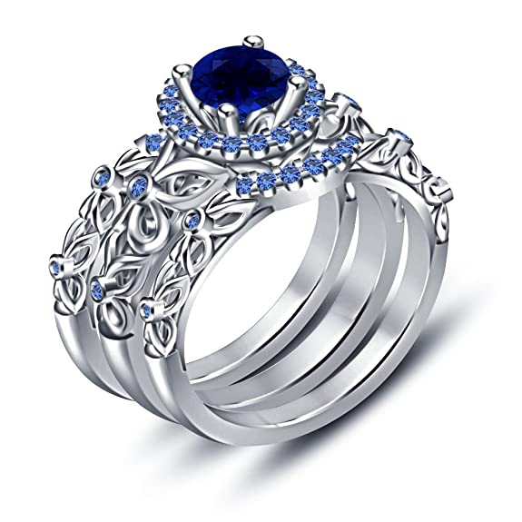 Vorra Fashion Solitaire Blue Sapphire Engagement Ring in 14k White Gold Finish Sterling Silver Wedding Band