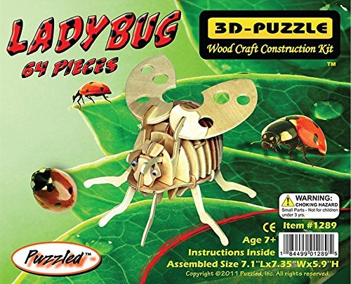 Puzzled Construction Craft Wood Kit Lady Bug 3D Wooden Jigsaw Puzzle (64 Piece) - 1