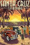 Santa Cruz, California - Vintage Woodies on the Beach (9x12 Art Print, Wall Decor Travel Poster)
