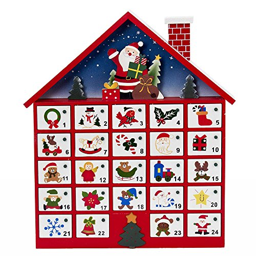 Kurt Adler C6300 Wooden Santa House Advent Calendar W/O Ornaments, 16-Inch (Advent House compare prices)