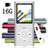 Tomameri - Portable MP3/MP4 Player with Rhombic Button, Including a 16 GB Micro SD Card and Support up to 32GB, Compact Music & Video Player, Photo Viewer, Video and Voice Recorder Supported -Silver (Color: Silver)