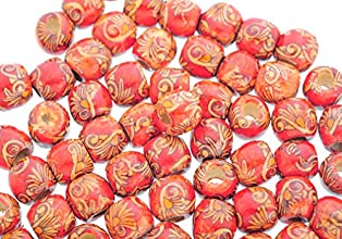 Souarts Peacock Printed Wooden Beads for Charm Bracelet Pack of 100pcs