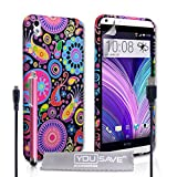 Yousave Accessories Jellyfish Silicone Gel Cover with Stylus Pen and Micro USB Cable for HTC Desire 816