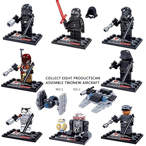 New Fun MiniToys of Star Wars Force Awakens Kylo Ren TIE Fighter Pilot Captain Phasma R2D2 Playsets Minifigures Building Brick Blocks Toy for Children, 8Pcs/Set ABS Plastic Multi-color