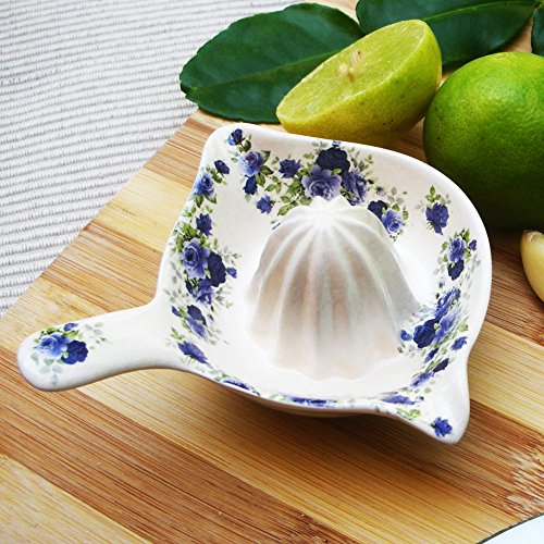 Ceramic Lemon Lime Citrus Squeezer Juicer Blue Floral Flower