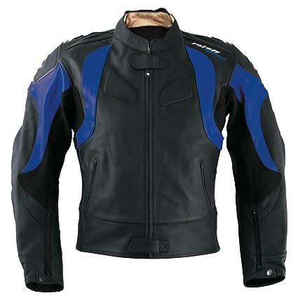 Roleff Racewear 82752 Blouson Moto Cuir Verona, Noir/Bleu, 52