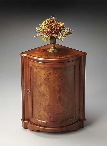 Butler Home Decor Furniture Corner Cabinet Finish Type Light Olive Ash Burl 2115101