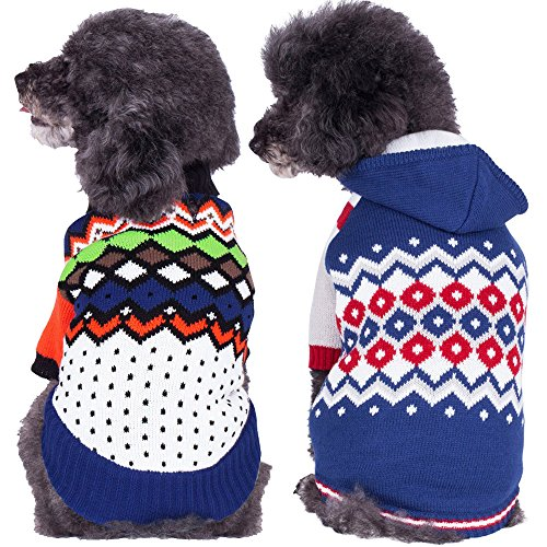 Blueberry Pet Over the Rainbow Multicolor Argyle Pattern Shawl Collar Dog Sweater
