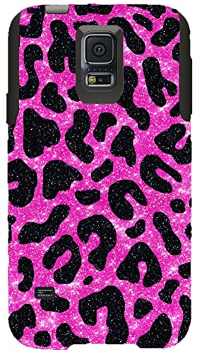 OtterBox Commuter Series Case for Galaxy S5 - Custom Glitter Case for Galaxy S5 - Black Cheetah Hot Pink/Black (Custom Otterbox S5 compare prices)