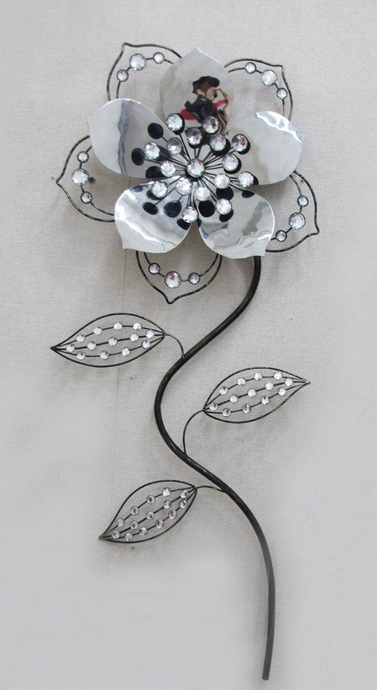 crystal hibiscus flower a modern looking home and office metal wall dcor sculpture - Metal Flower Wall Decor